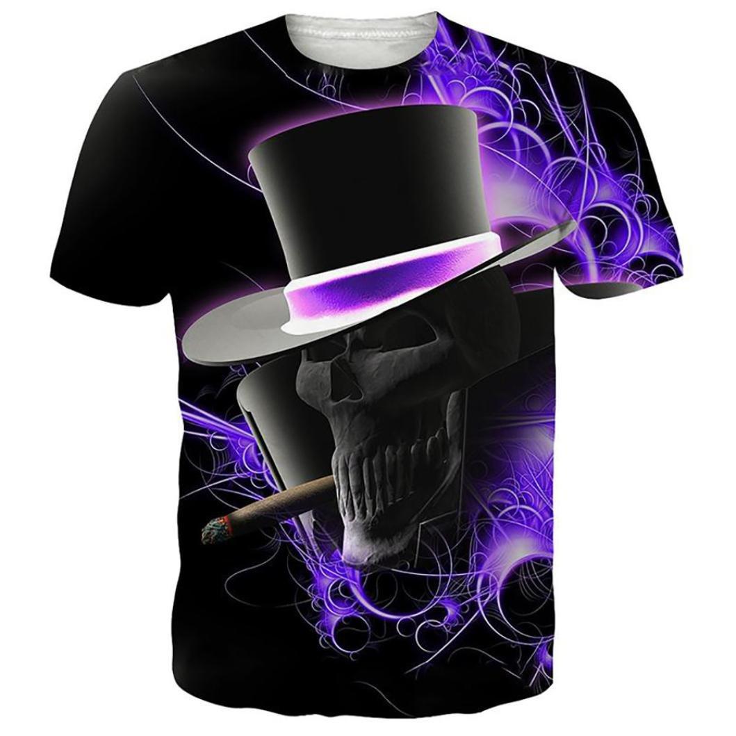 Photno Teen Men Boys Short Sleeve 3D Printed T Shirt Skull Hat Pullover Casual Tops Blouse