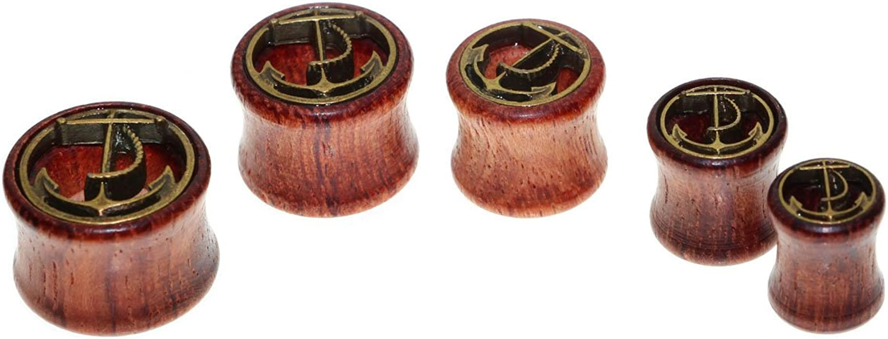 8mm-20mm oreja Plug marrón madera natural túnel Organic piercing Wood Saddle color marrón-rojizo