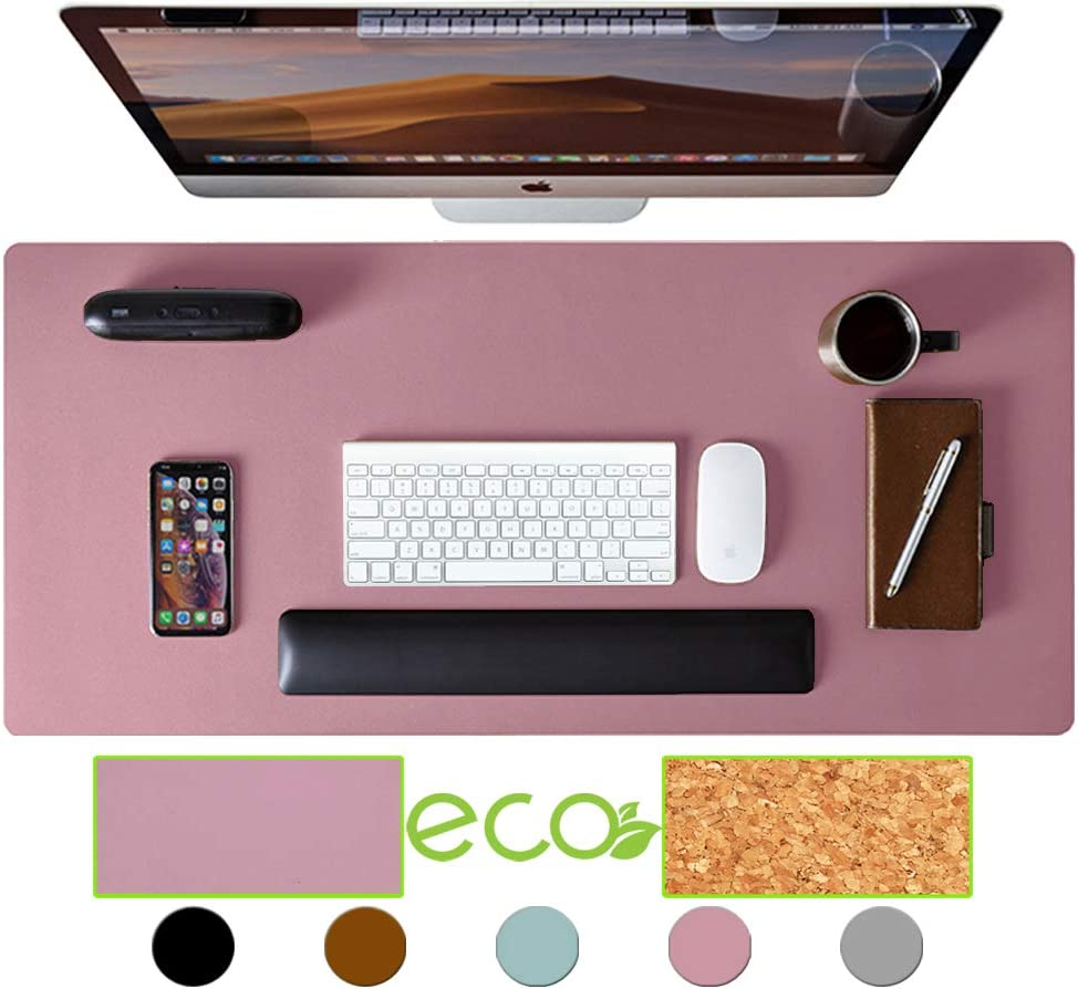 "Aothia Eco-Friendly Natural Cork & Leather Double-Sided Office Desk Pad & Mat Mouse Pad Smooth Surface Soft Easy Clean Waterproof PU Leather Desk Protector for Office/Home Game (Purple,36""x17"")"