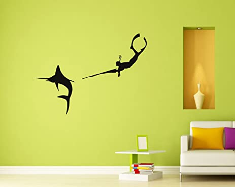 Spearfishing Wall Decal Decor Vinyl Sticker Wall Decor Removable ...