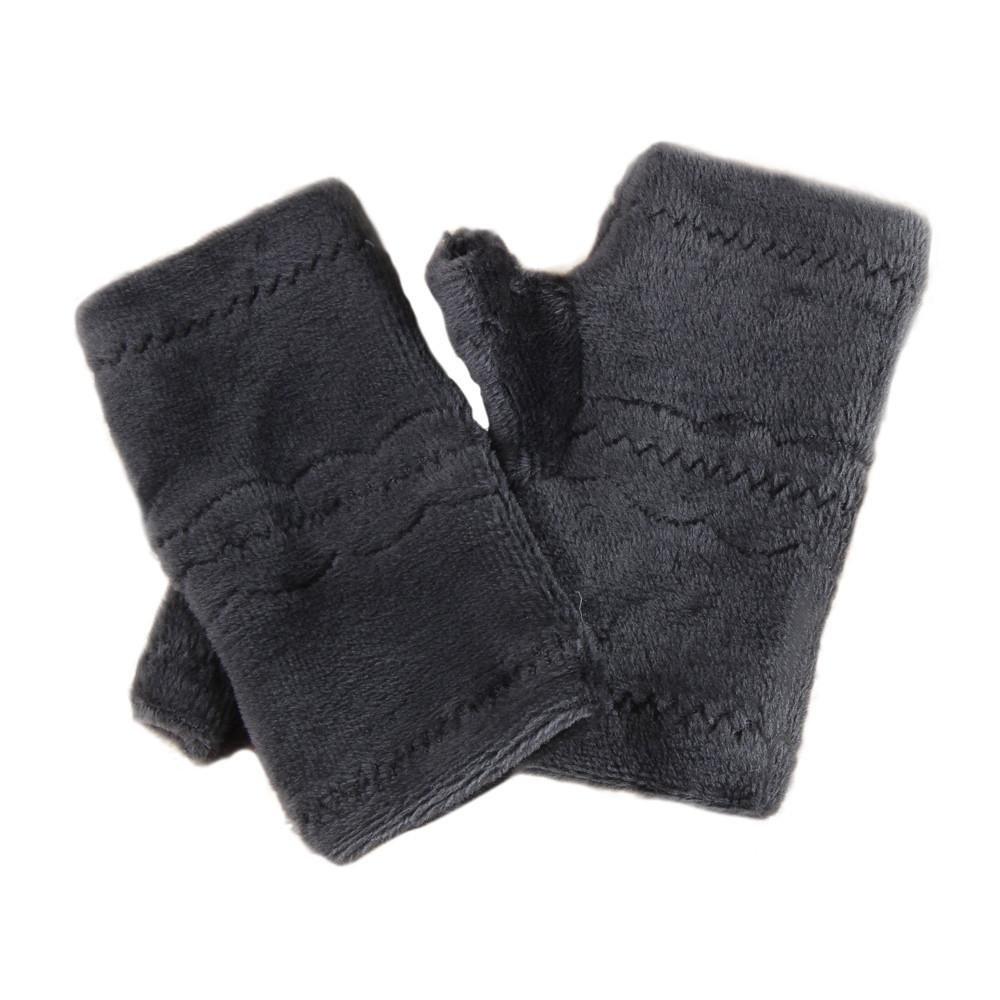 Sunward Women Winter Warm Thick Fingerless Gloves Arm Warmer Leak Finger Mittens (Brown)