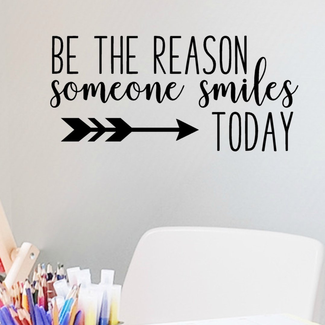Be The Reason Someone Smiles Today Wall Decal, Classroom Vinyl Quotes, 24''x11.5'' Black, Teacher Decor