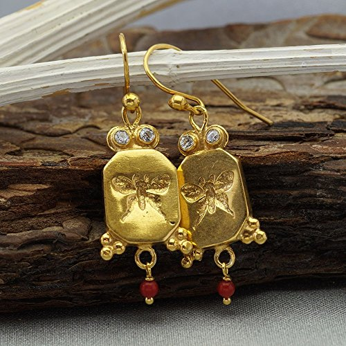 925k Sterling Silver Handmade Butterfly Coin W/ Coral Charm & White Topaz Earrings Roman Art Turkish Designer Jewelry By Omer 24k Gold Vermeil (Roman Coin Earrings)