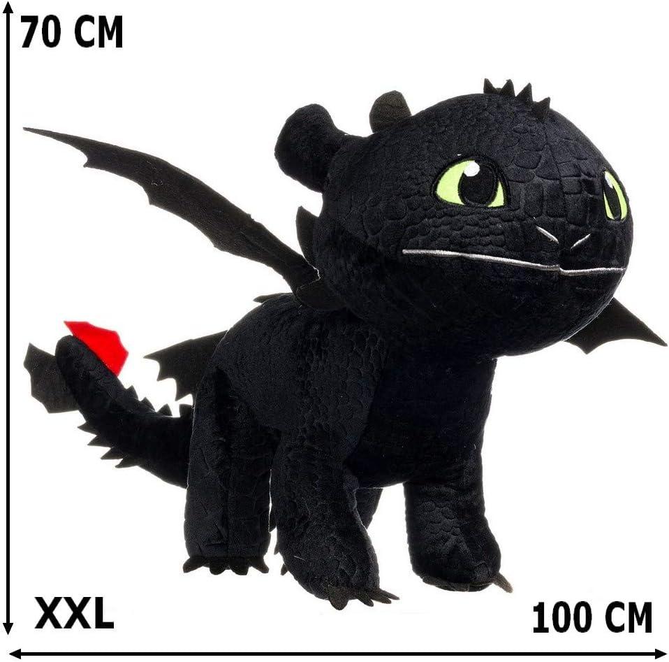 Guizmax Geante Peluche Krokmou 70 100 Cm Dragon 3 Noir Amazon Fr Jeux Et Jouets