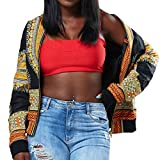 Rucan Women's Long Sleeve African Print Dashiki Zip-up Short Biker Bomber Jacket Outwear Coat (A, Large)