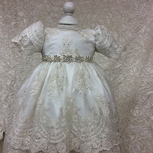 Banfvting Baby Girls Long Baptism Dress Lace Christening Gown With Bonnet by Banfvting (Image #4)