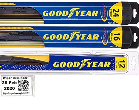 Goodyear Windshield Wipers >> Windshield Wiper Blade Bundle 4 Items Driver Passenger Blade Rear Blade Reminder Sticker Hybrid With Goodyear Rear Fits 2006 2012 Toyota