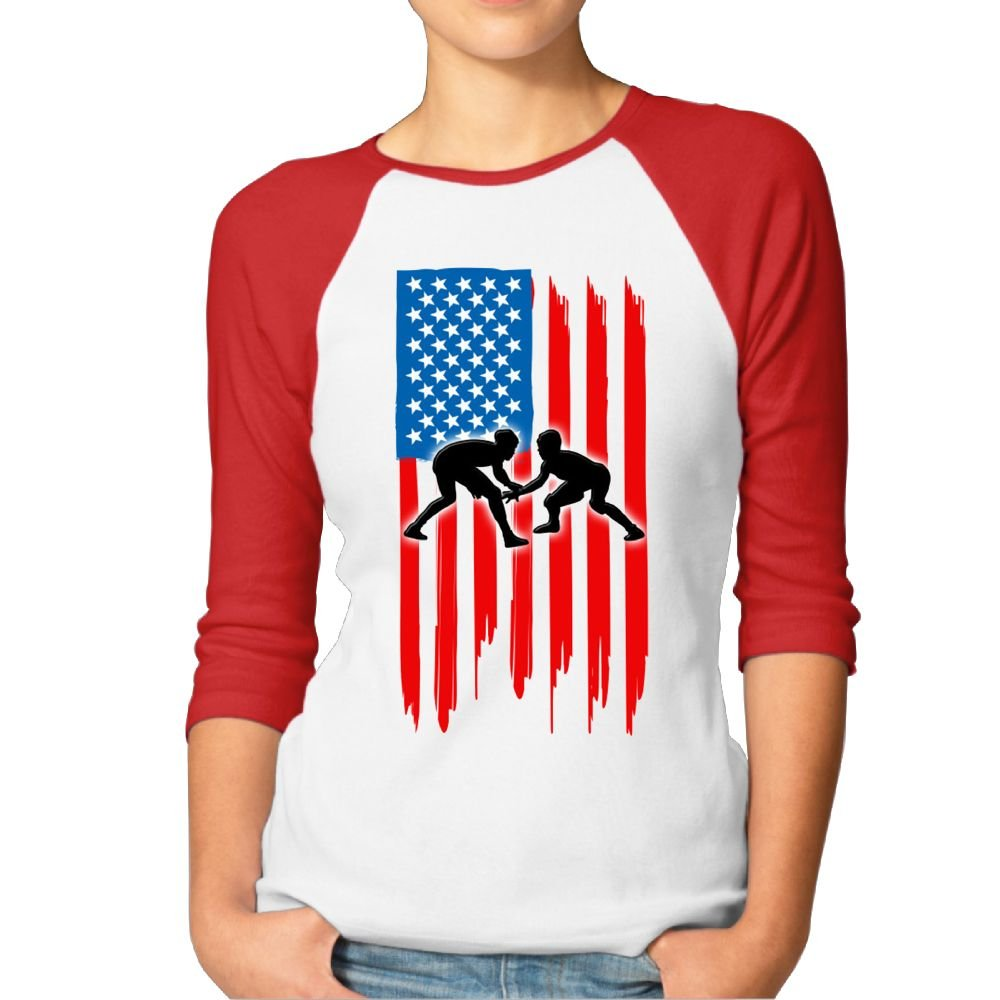 Kmeiqufan American Flag Wrestling Fashion Women's Long-Sleeved T-Shirts.