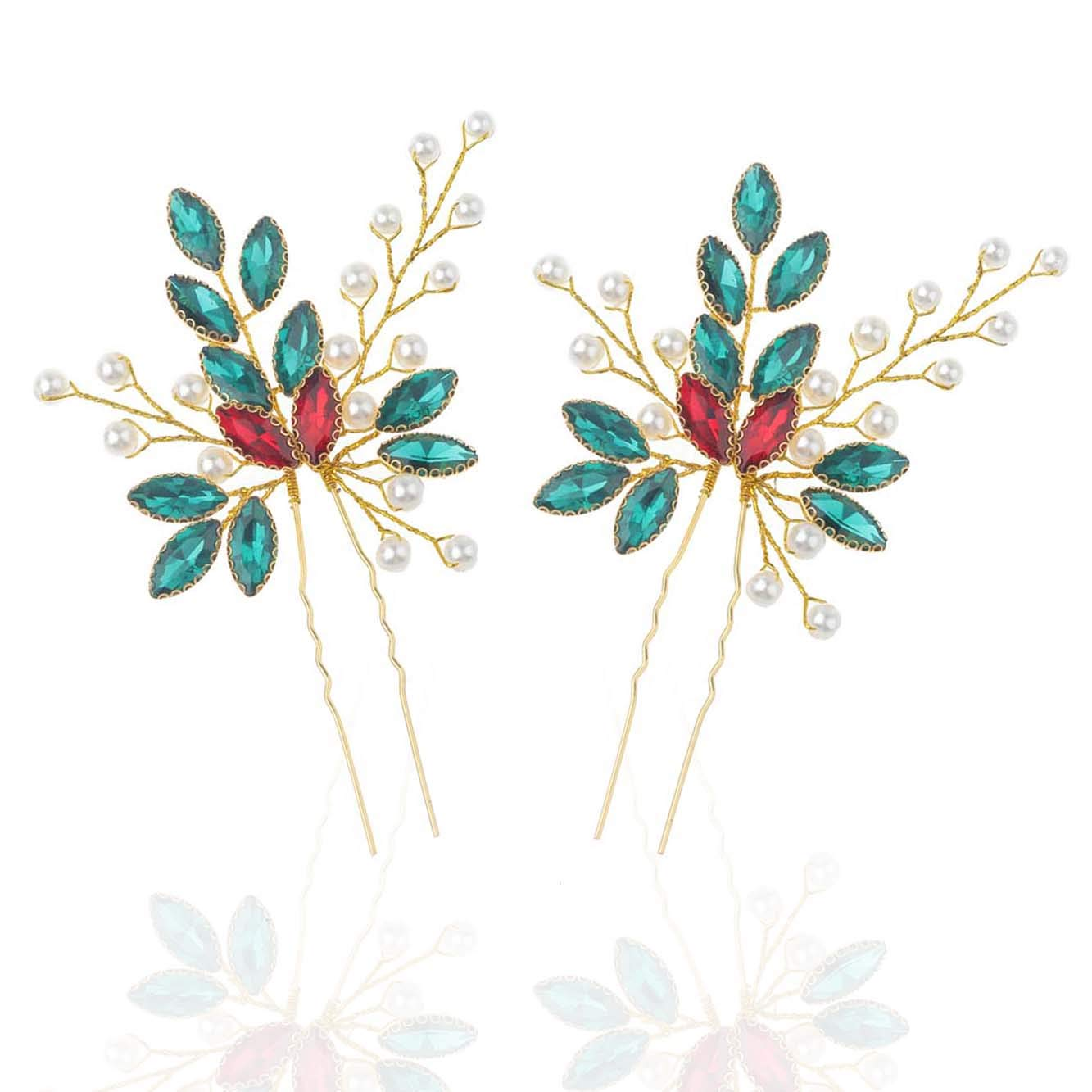Unicra Baroque Wedding Green Crystal Hair Pins Wedding Bridal Hair Accessories for Brides Pack of 2