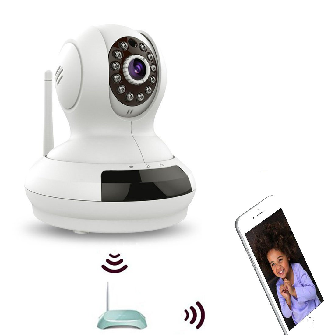 1080P WiFi IP Security Camera,Wireless Baby Monitor,Pet Camera w/ 2 Way Audio Talkback Pan Tilt Night Version Motion Detection,HD P2P Webcam for Indoor Outdoor Home Office w/Smart Phone PC APP (368)