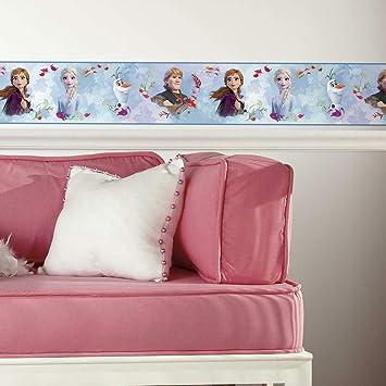 Roommates Rmk11500bd Frozen 2 Peel And Stick Wallpaper Border Removable Kids Room Decor White Blue Amazon Com
