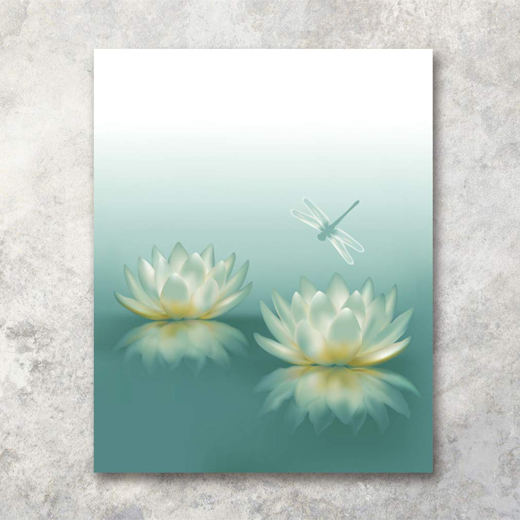 HVEST Dragonfly with Water Lily Flowers Canvas Wall Zen Spa Picture Printed Artwork for Living Room Bedroom Bathroom Wall Decor,Stretched and Framed Ready to Hang,16x20Inches