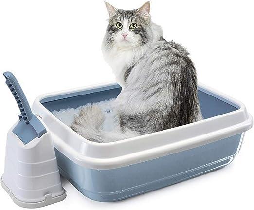 ZCY Abierto Caja De Arena para Gatos Prueba De Salpicaduras Gato Baño, Bandeja De Arena para Gatos con Cucharón Equipo, 59cm × 40cm: Amazon.es: Productos para mascotas