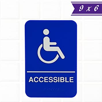 ADA Handicap Accessible Sign With Braille   Blue And White, 9 X 6 Inches