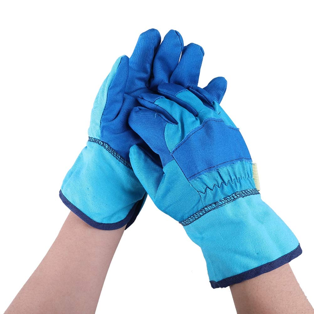 Xgxyklo Children Gardening Planting Gloves, Anti-Cutting Wear-Resistant Breathable Thickening Protective Gloves,Blue,10Pair by Xgxyklo (Image #1)