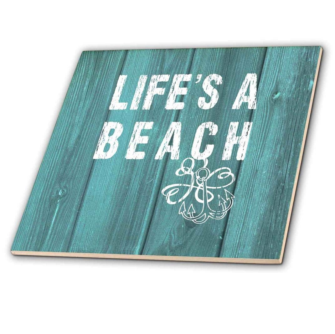 3dRose Lifes a Beach Distressed White Text on Teal Background-not Real Wood-Ceramic Tile ct/_220419/_4 Multicolor 12-inch