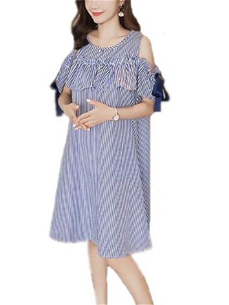 4fe3000e171d Aivosen Moda Donna Abito Gravidanza Per L allattamento Vestito Estivo  Elegante Con Cravatta di Arco Lose Casual Senza Spalline Dress Popolare   Amazon.it  ...