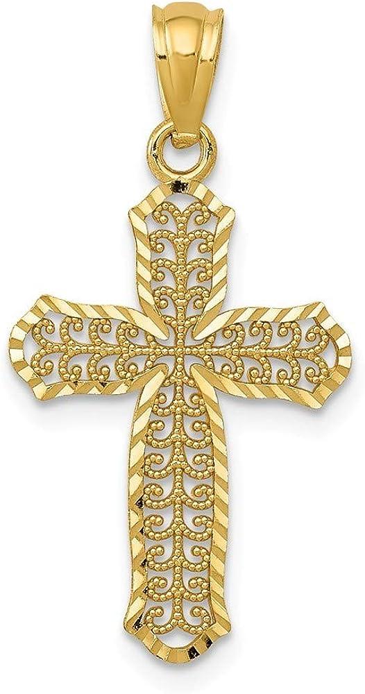 13.58mm 14k Sparkle-Cut Polished Filigree Cross Pendant