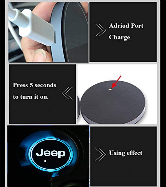con Logo 2 Pezzi Portabibite a LED per Auto Interestingcar Impermeabile
