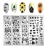 #3: Whaline 4 Pieces Halloween Nail Art Plates Image Stamp Templates Stamping Kit DIY Print Manicure Salon Design