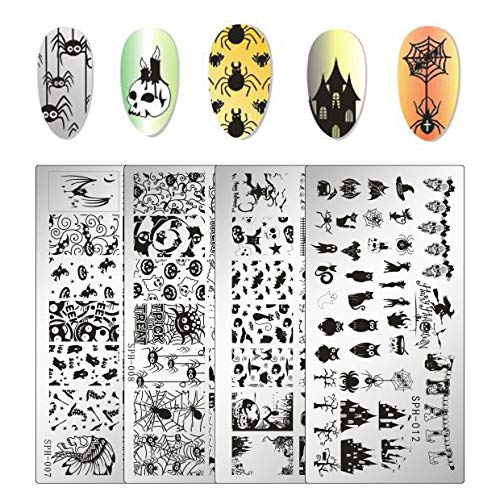 Whaline 4 Pieces Halloween Nail Art Plates Image Stamp Templates Stamping Kit DIY Print Manicure Salon Design ()