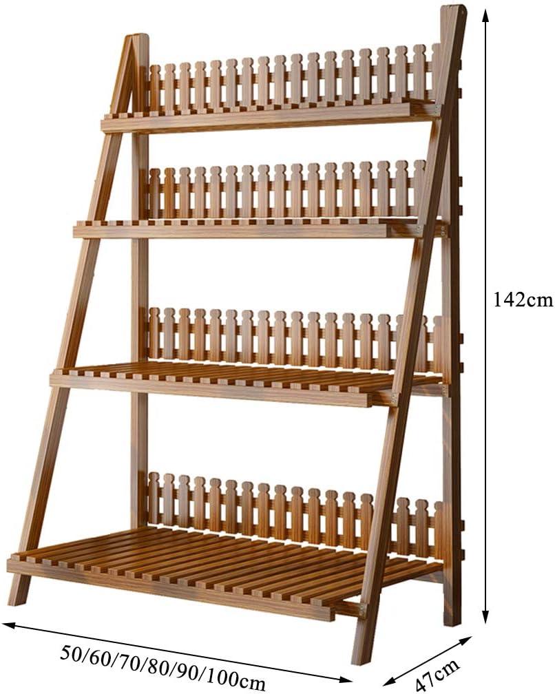 Soporte de flores de 4 niveles Soporte de maceta Escalera para plantas Escalera plegable Estante de almacenamiento de madera para el hogar Balcón interior Salón Dormitorio al aire libre: Amazon.es: Hogar
