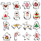 Christmas Cookie Cutters, Hibery 16 Pcs Holiday Cookie Cutters Christmas, Reindeer, Snowflake, Christmas Tree…