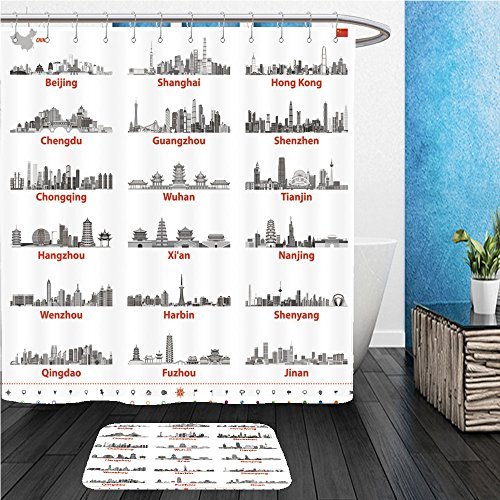 Beshowereb Bath Suit: ShowerCurtian & Doormat abstract vector illustration of chinese largest city skylines in black and white color palette with - Largest Macy's