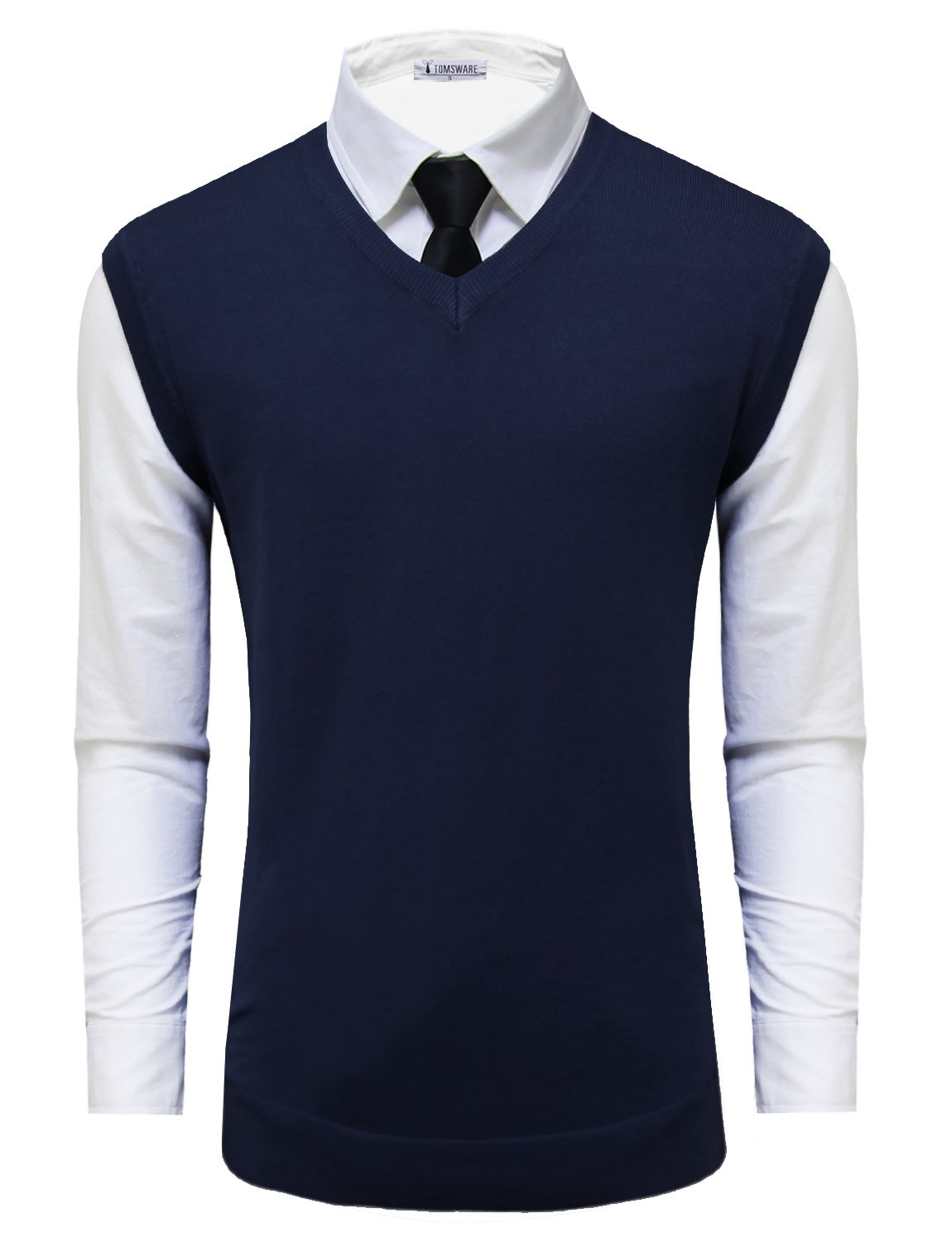 Tom's Ware Mens Casual Pullover V-Neck Sweater Vest TWMV05-NAVY-US L by Tom's Ware