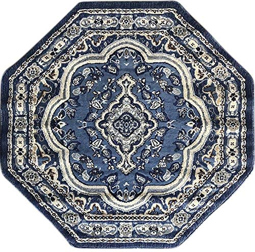 emirates Traditional Octagon Oriental Area Rug Light Blue Gray Brown Beige Ivory Design 520 (7 Feet 9 Inch X 7 Feet 9 Inch)