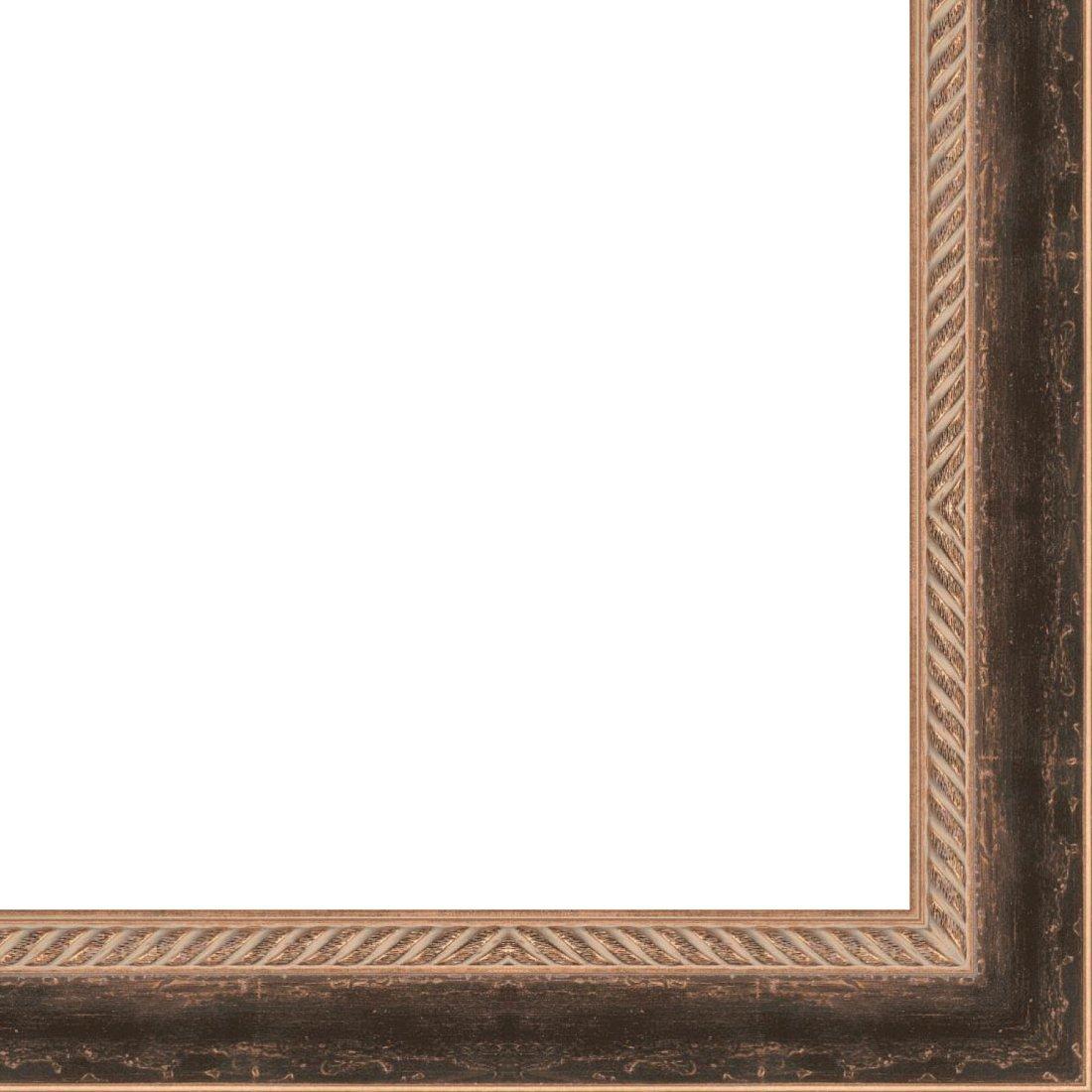 Picture Frame Moulding (Wood) 18ft bundle - Distressed/Aged Black Finish - 2.75'' width - 5/8'' rabbet depth