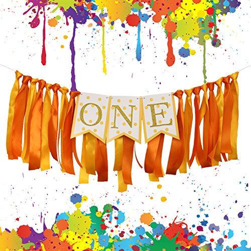 SIFAN ONE Birthday Banner with Ribbon Backdrop, Handmade 1st Highchair Party Decoration for Baby Boys and Girls