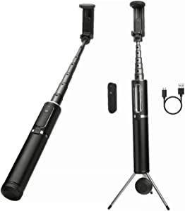 Selfie Stick Tripod Stand, Bluetooth Tripod Wireless Remote Pocket Selfie Stick Compatible with iPhone X Plus 6 7 8 Galaxy Note 5 Samsung S5 S6 S7 Android Apple Cellphone Smartphone (Black - Silver)