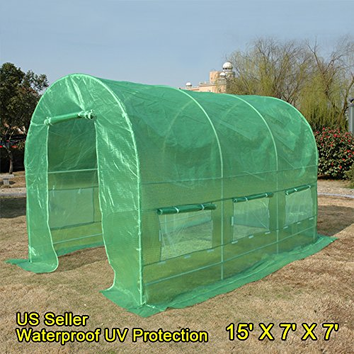 Quictent 16 Stakes KOREA Reinforced PE Cover Greenhouse 15'x7'x7' Arch LARGE Walk in Green Garden Hot House for Plants by Quictent (Image #1)