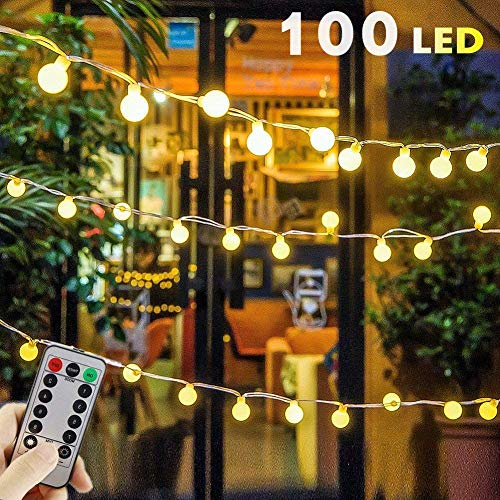 USB Powered Globe String Lights, 100 LED 55ft 8 Modes Globe Fairy Lights with Remote Control & Timer, Starry Lights for Home Party Birthday Garden Festival Wedding Xmas Indoor Outdoor Use