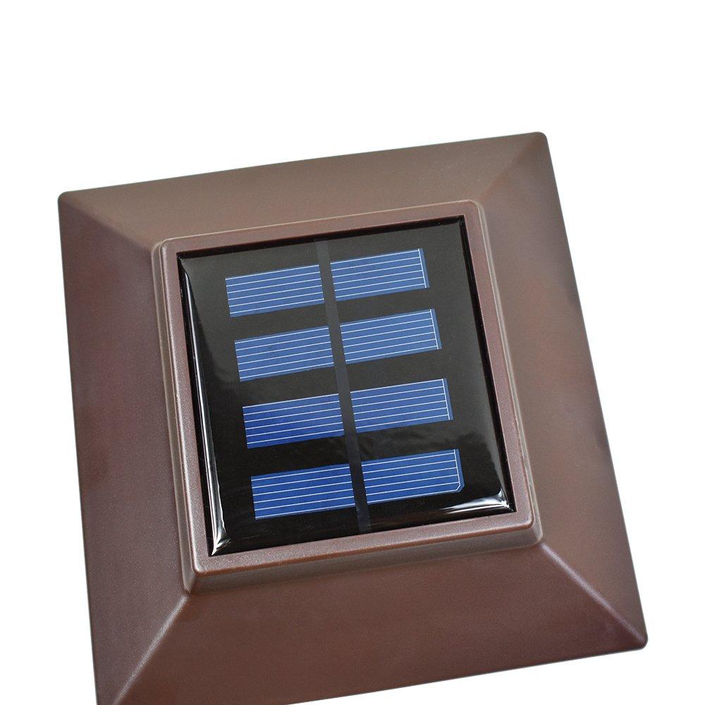 iGlow 4 Pack White Outdoor Garden 4 x 4 Solar LED Post Deck Cap Square Fence Light Landscape Lamp Lawn PVC Vinyl Plastic