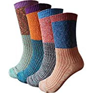 Women's Lady's 4 Pair Pack Vintage Style Colorful Cotton Crew Socks, Multi Color1