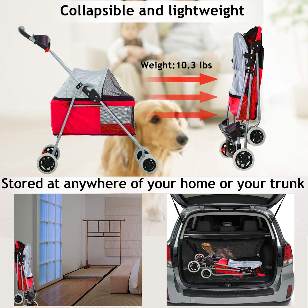 Dog Stroller Pet Stroller Cat Strollers Jogger Folding Travel Carrier Durable 4 Wheels Doggie Cage with Cup Holders 35Lbs Capacity Waterproof Puppy Strolling Cart for Small-Medium Dogs Cats