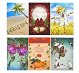 "InterestPrint Four Season Holiday Garden Flag Set of 6,Double Sided Thanksgiving Christmas Decorative Flags 12""x18"" for Outdoor Yard House Home"