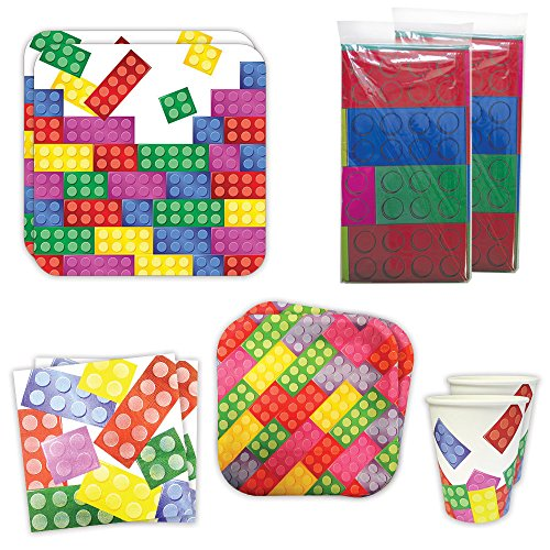 - Brick Party Deluxe Party Packs (70 Pieces for 16 Guests!), Block Birthday Tableware Sets