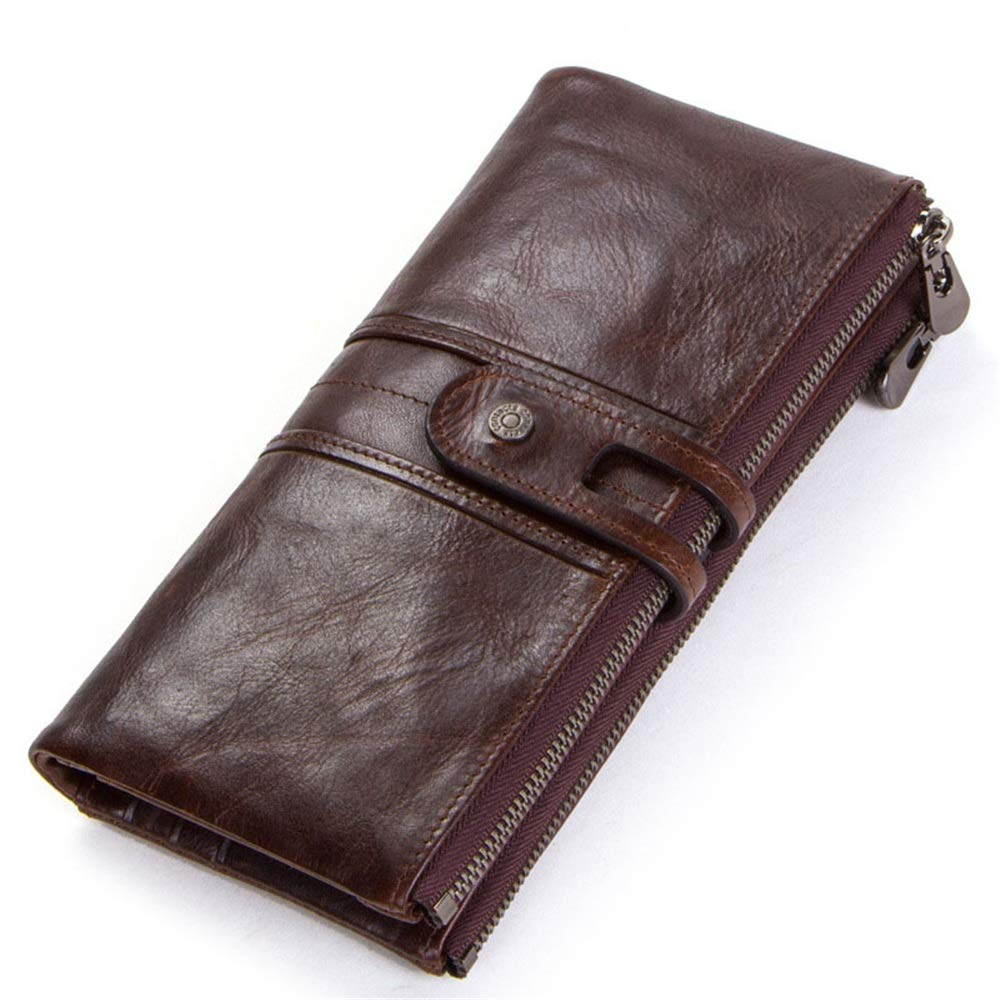 Xiuzhifuxie Womens Wallet Womens Long Genuine Leather Wallet with Credit Card Holders Phone Money Organizer Zipper Purse Wristlet Handbag Color : Gray