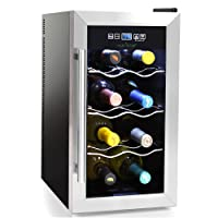 NutriChef 8 Bottle Thermoelectric Wine Cooler / Chiller | Counter Top Red And White Wine Cellar | FreeStanding Refrigerator, Quiet Operation Fridge | Stainless Steel