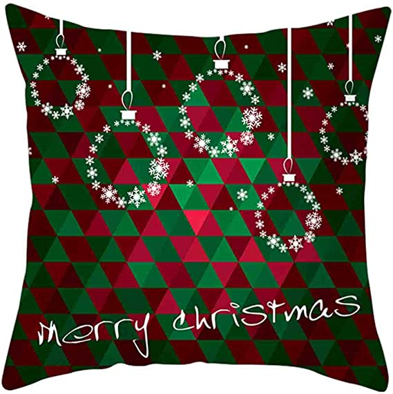 A,45x45cm JFLYOU Pillow Covers,Merry Christmas Letter and Cars Printed Cotton Linen Sofa Cushion Cover Home Decor
