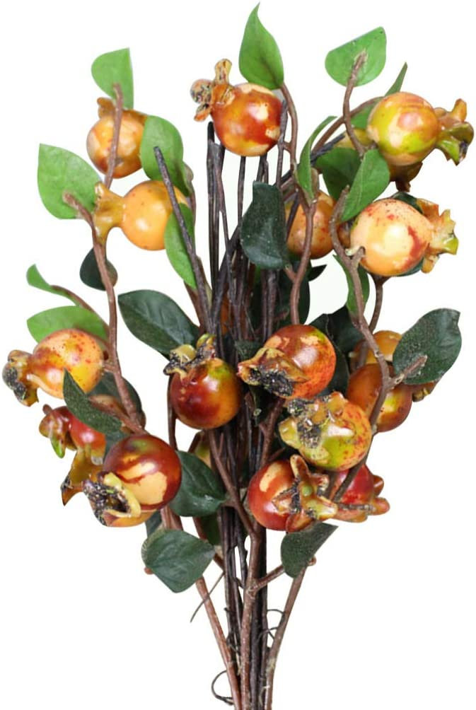Artibetter Artificial Rosehip Berries Fake Berries Decor Pomegranate Bouquet Alternative to Christmas Holly Berries Wedding Farmhouse Decor - 5 Groups (Sunset Red)