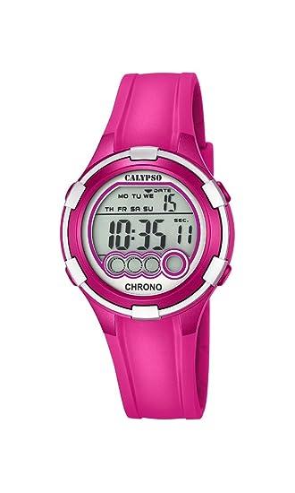 Calypso - Reloj Digital de Mujer con Esfera de LCD Pantalla Digital y Rosa Correa de plástico K5692/6: Amazon.es: Relojes