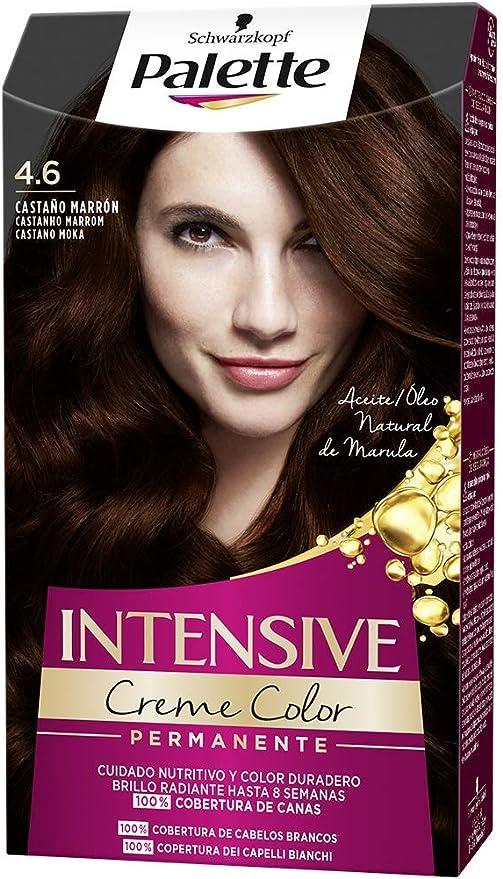 Schwarzkopf Palette Intensive Creme Color - Tono 4.6 cabello Castaño Marrón - Coloración Permanente de Cuidado con Aceite de Marula – Óptima cobertura ...