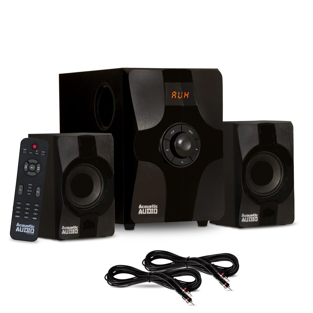 Acoustic Audio AA2131 Bluetooth Home 2.1 Speaker System for Multimedia and 2 Extension Cables