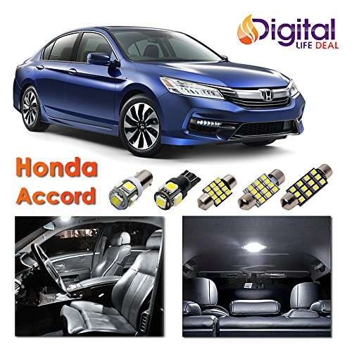 Digital Life Deal - 8 x White Interior LED Lights Package Kit for 2013-2018 Honda Accord