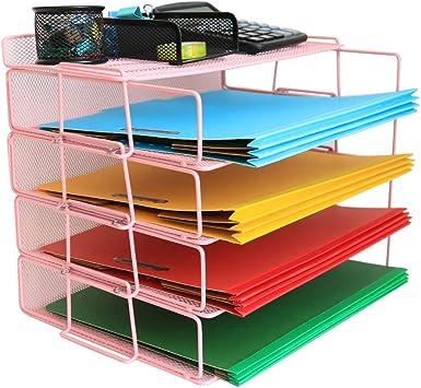6 PACK Stackable Letter Tray Desk Office File Document Paper Holder Organizer