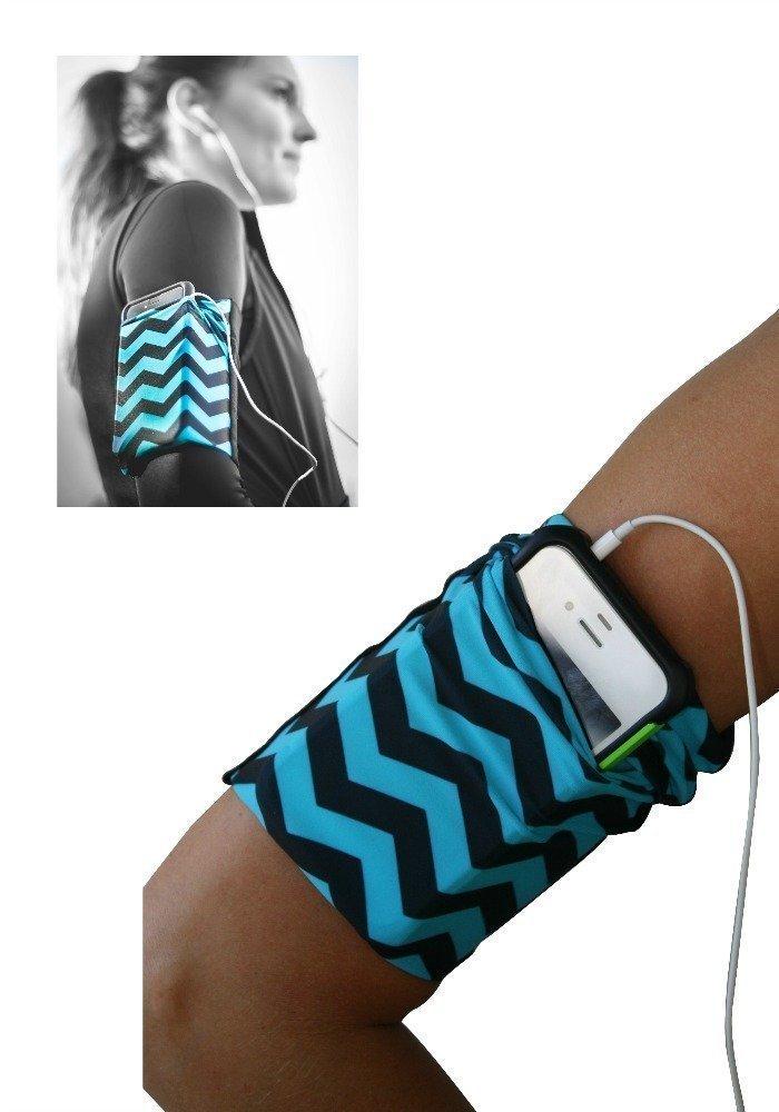 Blue Chevron Cell Phone Armband